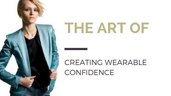 Blog title next to image of model wearing turquoise blazer