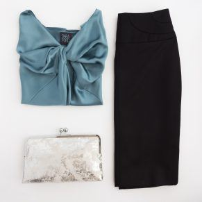 Dara Ford silk top, wool skirt and leather clutch bag