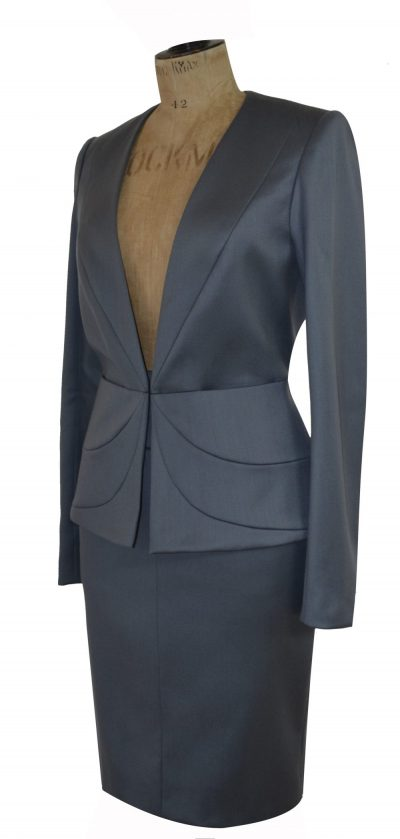 Grey skirt suit on mannequin by Dara Ford