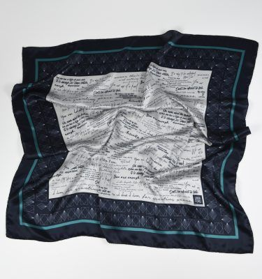 Birdseye view of square silk scarf