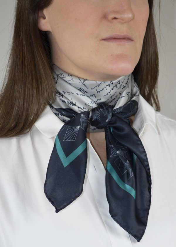 Detail of silk scarf tied as neckerchief