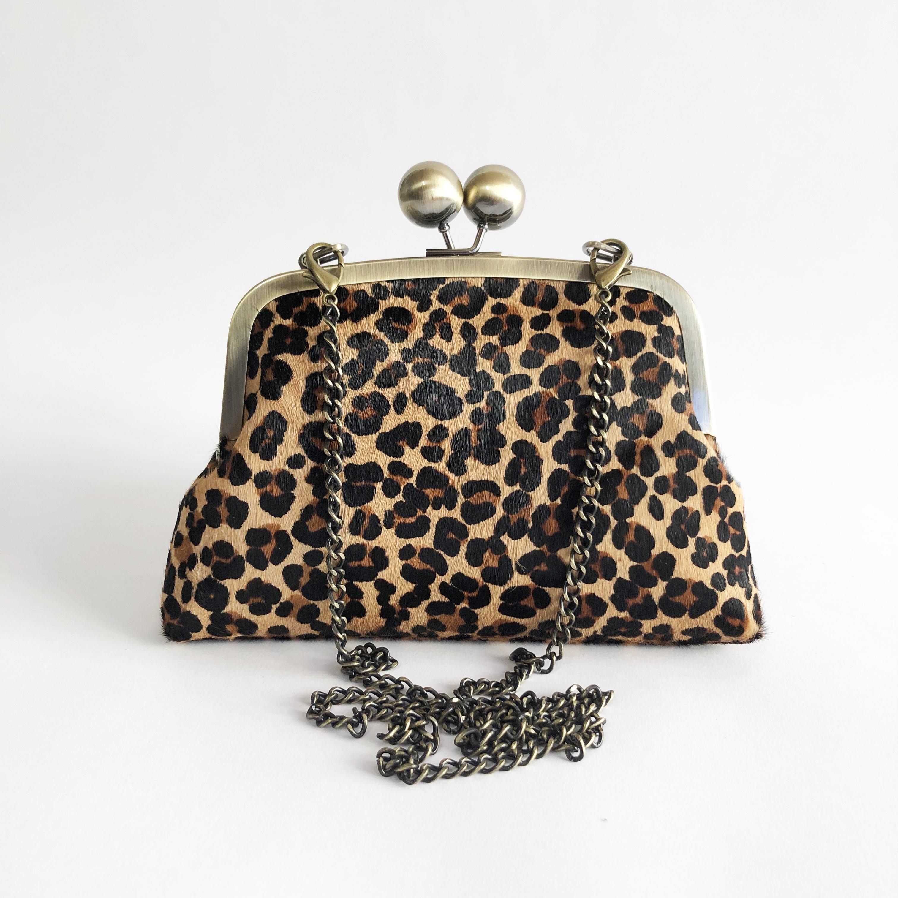 fac1d44a9 Leopard print handbag / animal print clutch purse with strap