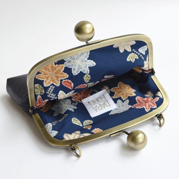 Floral vintage kimono silk clutch bag lining