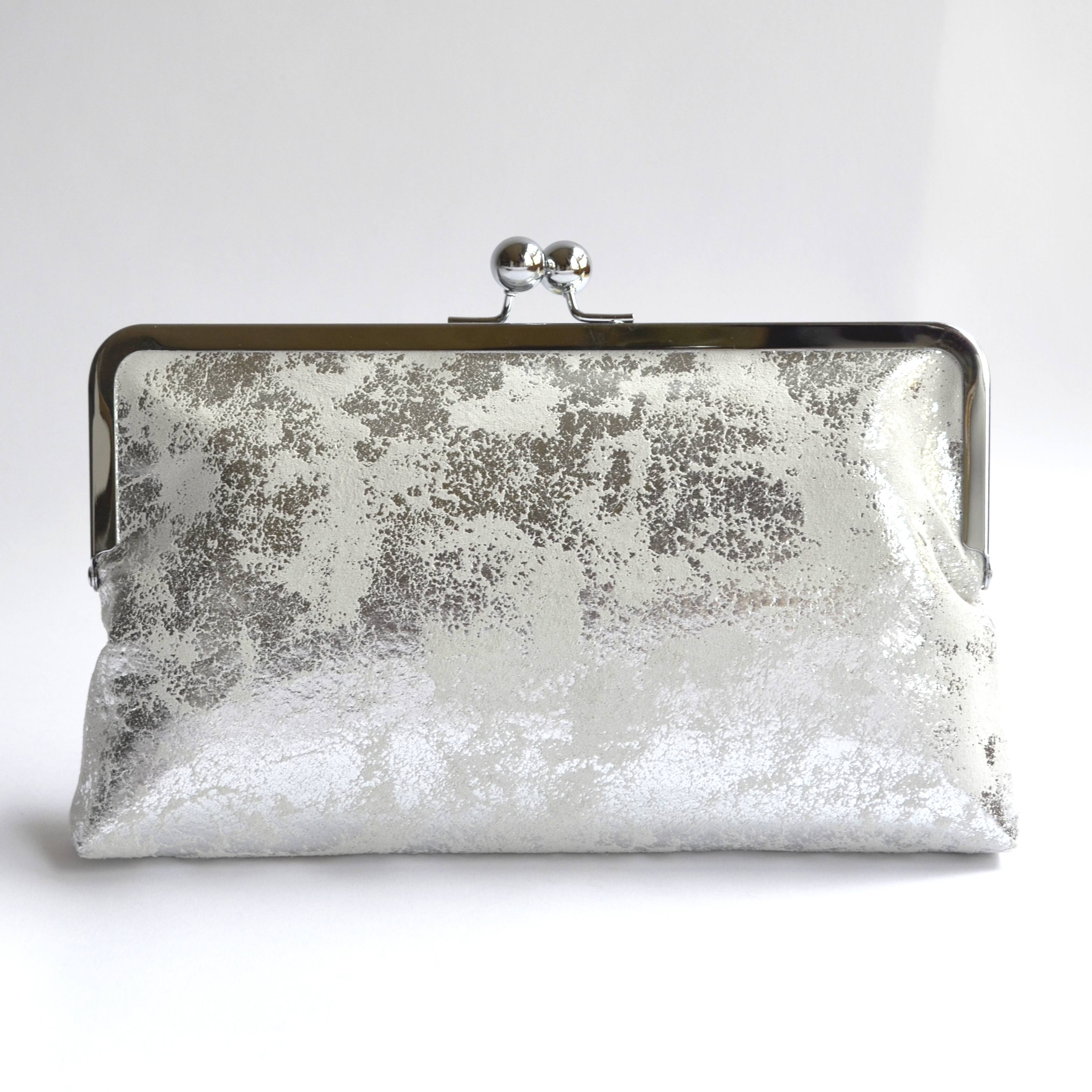 Metallic silver clutch bag with kiss lock closure and vintage kimono ... bc90fc3e5