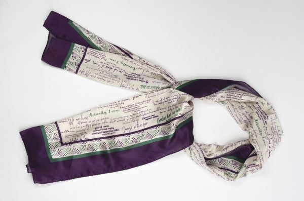 Flat view of silk scarf tied in a loop