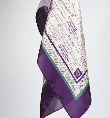 Detail view of silk scarf
