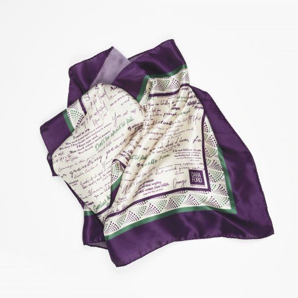 Draped view of silk scarf