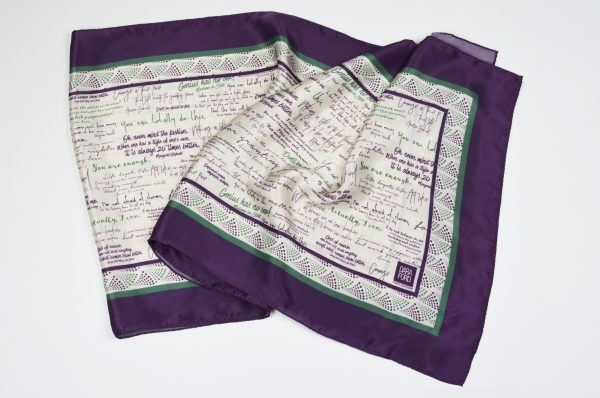 Flat view of silk scarf