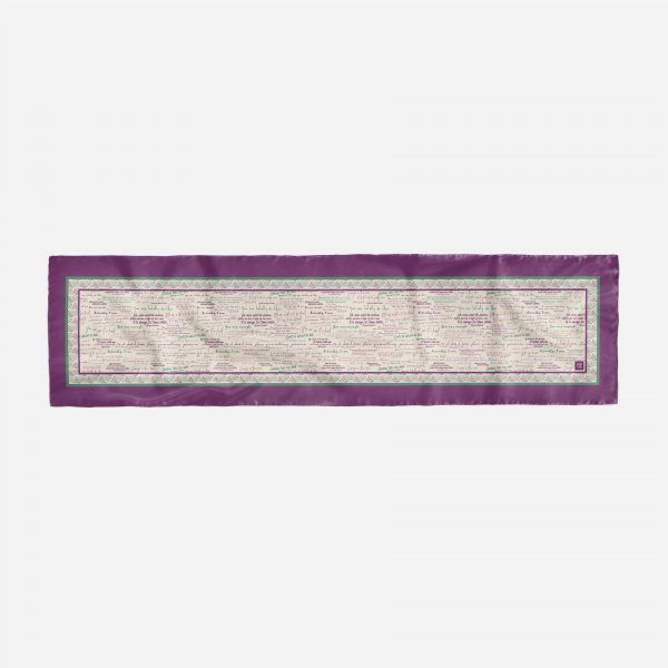 Silk scarf with inspiring quotes by women in history in Suffragette colours