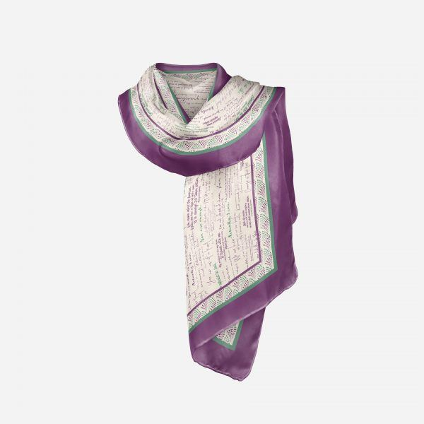 Draped view of silk scarf with inspiring quotes by women in history in Suffragette colours